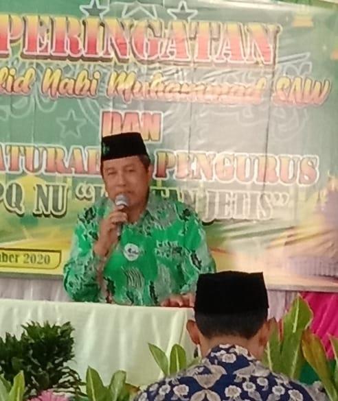 H.Suyanto, ketua MWC NU Jetis- saat menyampaikan sambutan pada acara Maulid Nabi Muhammad SAW Kortan TPQ Jetis