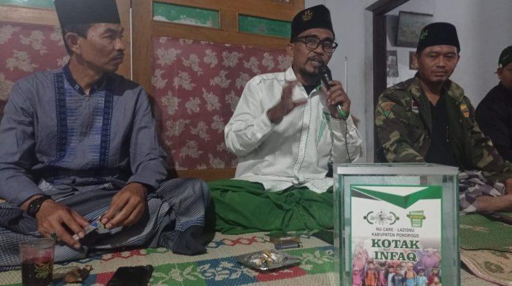 Ahmad Subeki Al Kalibek, wakil ketua NU Care-Lazisnu saat sosialisasi Kotak Infaq (Koin) NU CARE-LAZISNU Cabang Ponorogo di acara MDS Rijalul Ansor PAC GP Ansor Balong