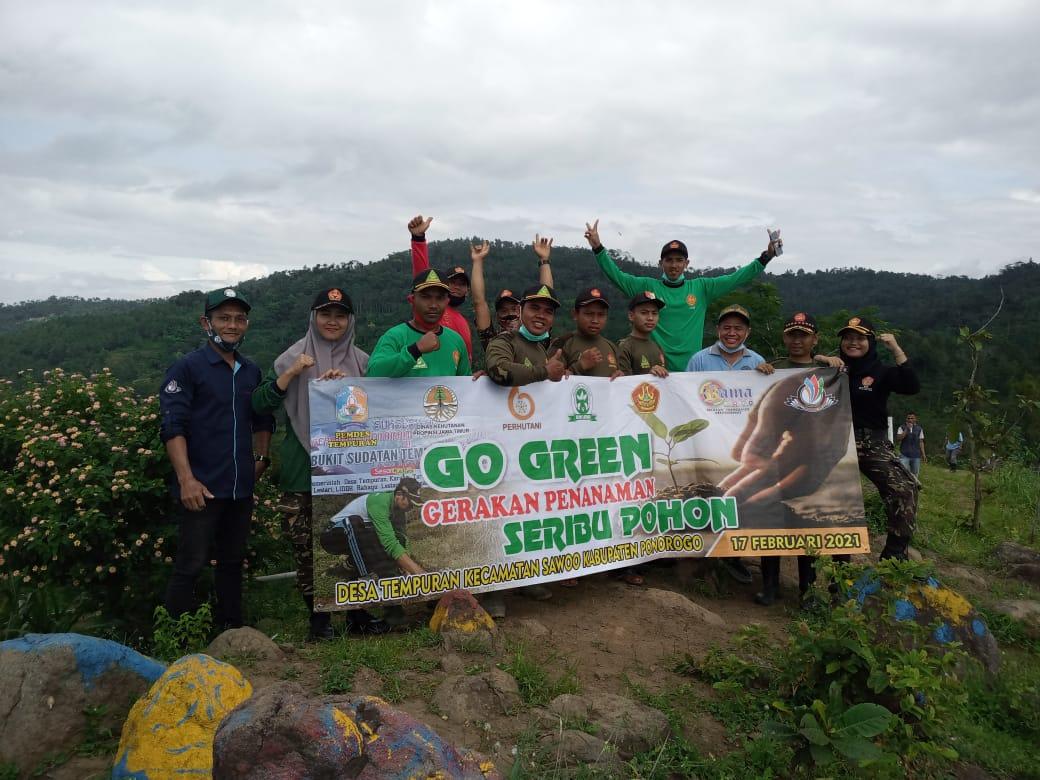 Banser Sawoo bersama KPH Lawu dan steakholder gelar Go Green di Bukit Kukusan-Tempuran-Sawoo