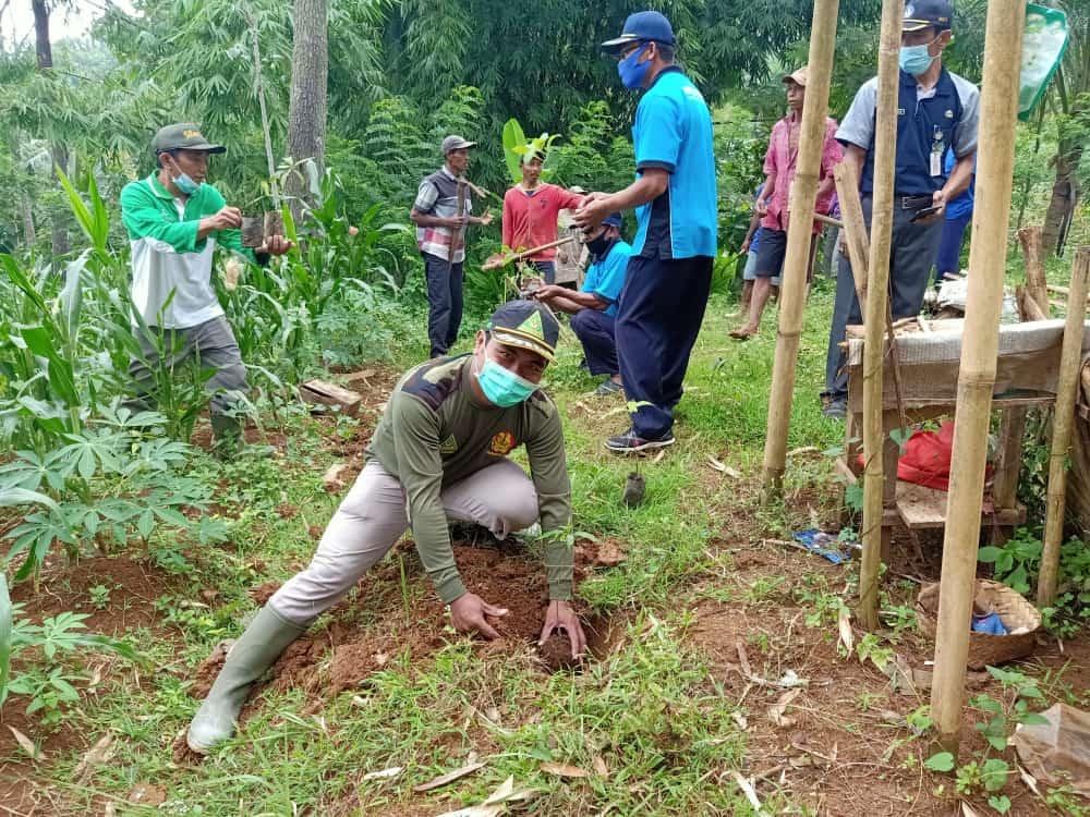 Menanam Pohon - Banser Sawoo bersama KPH Lawu dan steakholder gelar Go Green di Bukit Kukusan Tempuran Sawoo