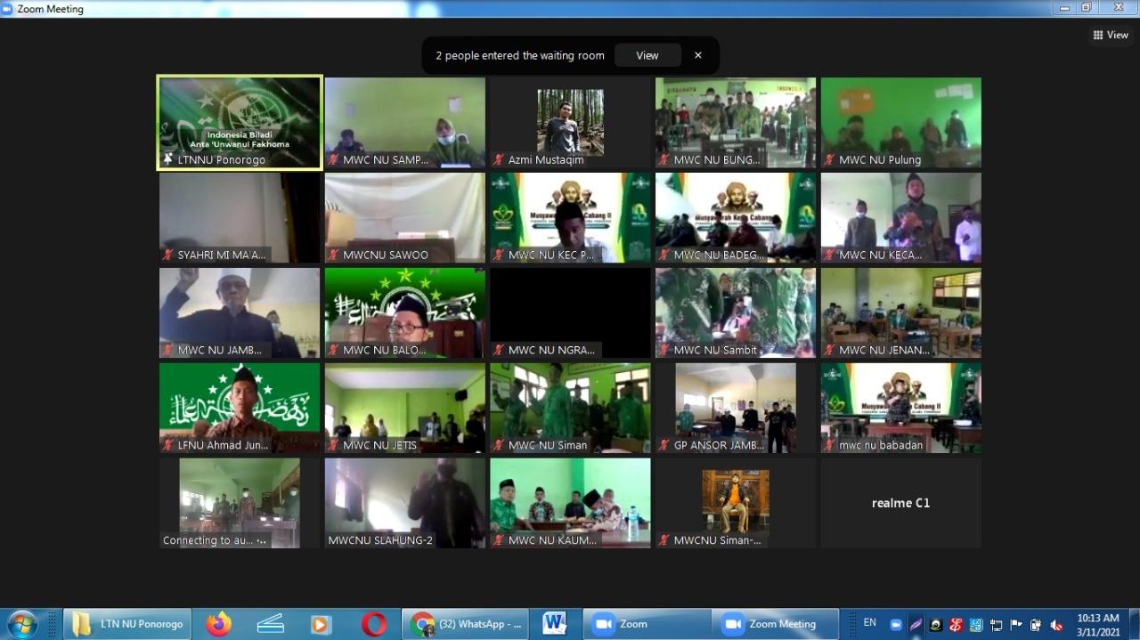 Antusias peserta Muskercab II PCNU Ponorogo meski mengikuti lewat zoom meeting