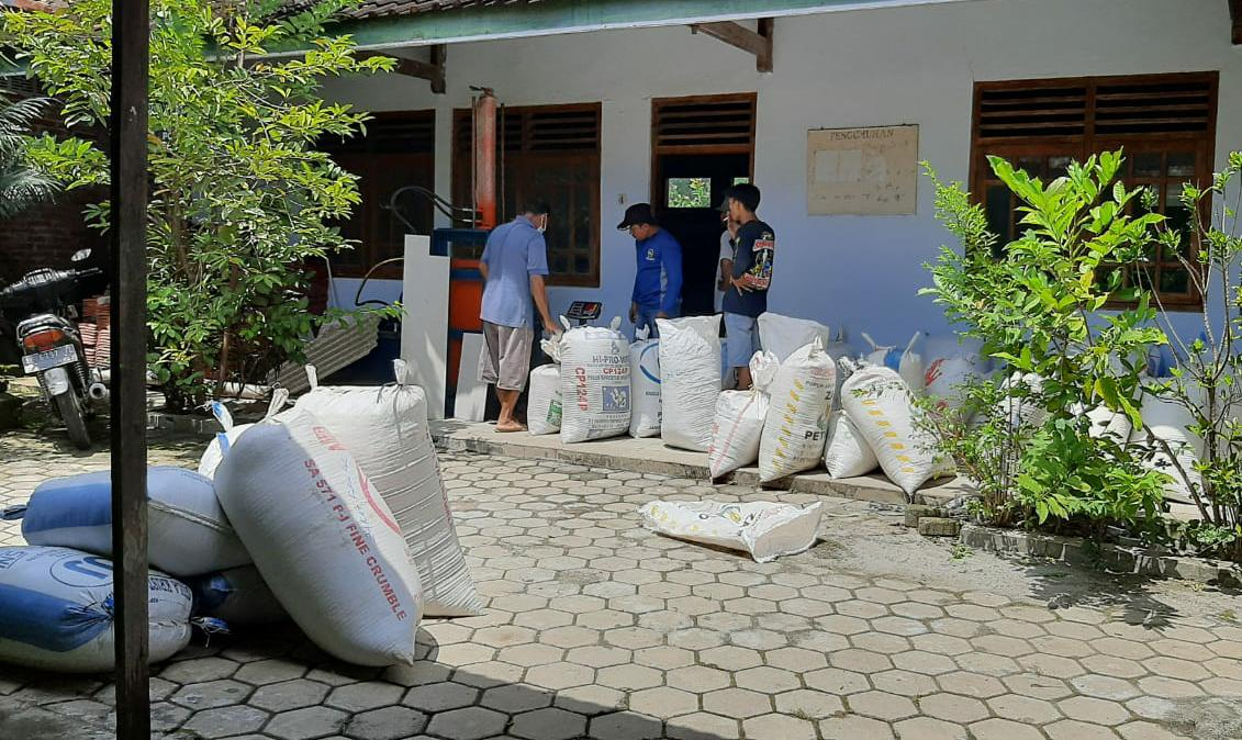 Pengumpulan zakat pertanian di gedung Madin Desa Mrican. Foto diambil sebelum Ramadhan.