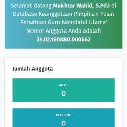 Dashboard Simas Pergunu yang mencantumkan nomor anggota Pergunu yang telah mendapatkan persetujuan admin