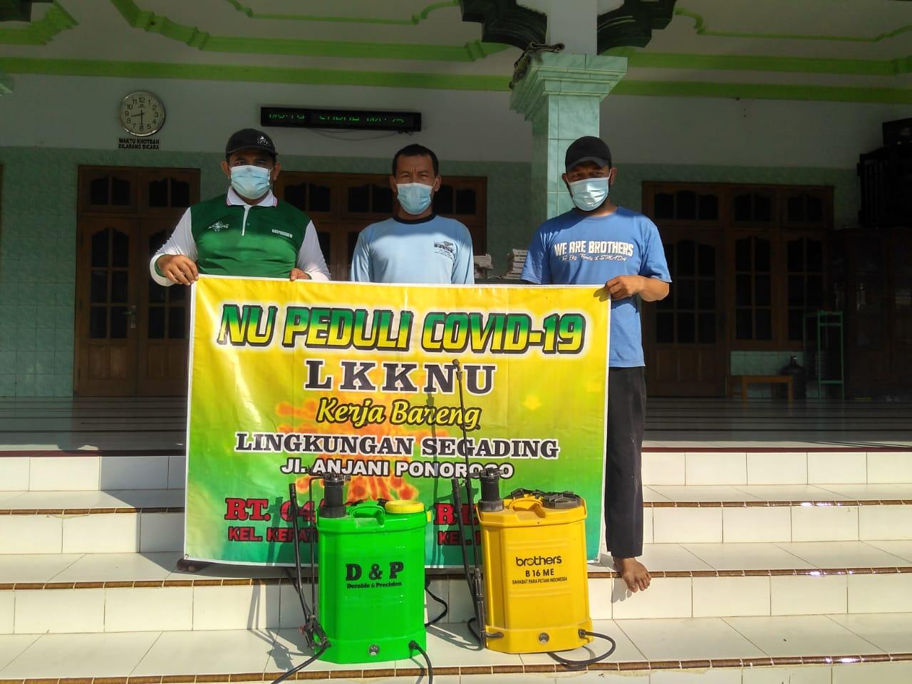LKKNU Ponorogo berkomitmen menggandeng warga untuk menggalakkan penyemprotan diisfektan untuk pencegahan wabah Covid-19