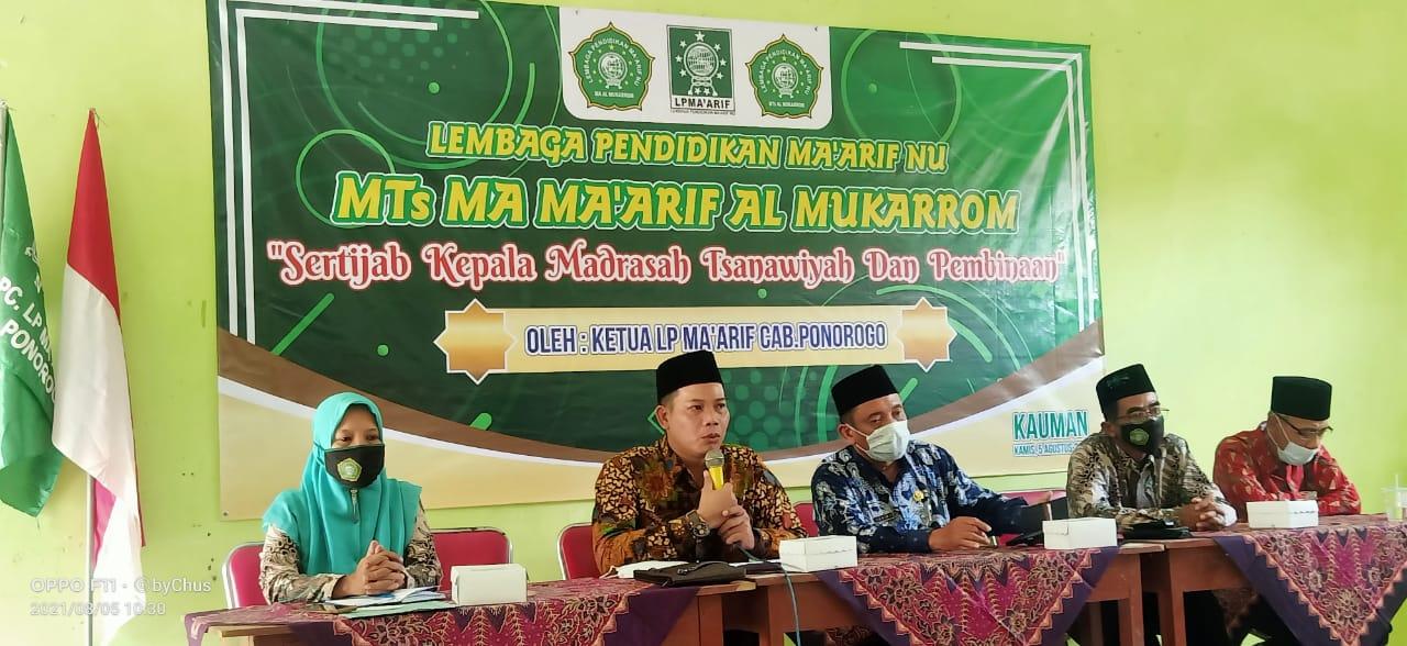 Jajaran Komite Madrasah, BP3MNU dan perwakilan LP Ma'arif NU saat mengikuti sertijab Kepala MTs Al-Mukarrom